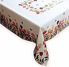 Tischdecke 130x170 cm Rechteckig Weiß TULPEN Bunt Tischtuch Tafeltuch Frühlingsdecke