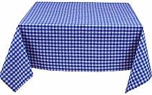 Tischdecke 130x190 cm, Karo 1x1 cm, Blau und Weiß, Baumwolle, eckig, kariert, gewebtes Karomuster, Landhausstil, Tischwäsche, Tischtuch, Tischdekoration, Tischdeko
