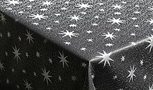 Tischdecke 130x260cm eckig anthrazit silber mit Lurex Garn und eingewebten Sternen, dekorativ für die Weihnachtszeit in Gold, Rot/Silber, Anthrazit/Silber und Silber, außerdem in vielen Größen erhältlich und natürlich pflegeleich