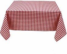 Tischdecke 130x280 cm, Karo 1x1 cm, Rot und Weiß, Baumwolle, eckig, kariert, gewebtes Karomuster, Landhausstil, Tischwäsche, Tischtuch, Tischdekoration, Tischdeko