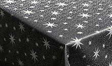 Tischdecke 135x180cm eckig anthrazit silber mit Lurex Garn und eingewebten Sternen, dekorativ für die Weihnachtszeit in Gold, Rot/Silber, Anthrazit/Silber und Silber, außerdem in vielen Größen erhältlich und natürlich pflegeleich