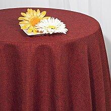 Tischdecke 160 cm rund uni Taft bordeaux