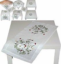 TISCHDECKE 35x70 cm Baumwolloptik MARIENKÄFER rot Margeriten Weiß gestickt Tischläufer Dekoration FRÜHLING Sommer (Tischläufer 35x70 cm)