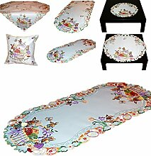 Tischdecke 35x70 cm oval Tischläufer für OSTERN weiß OSTERHASE EI Schleife lila bunt gestickt Osterdecke (Tischläufer 35x70 cm)