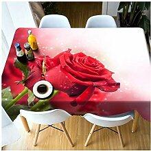 Tischdecke 3D-Rosen-Muster Waschbar verdicken