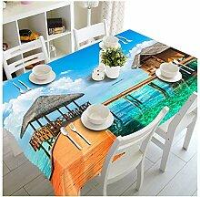 Tischdecke 3D Seaside Beach Pattern waschbar Tuch