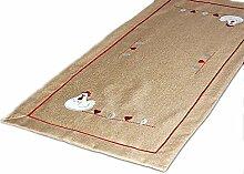 TISCHDECKE 40x160 cm eckig Polyester Tischläufer Aufleger RUSTIKALer Landhausstil hellBRAUN HENNE Herz rot weiß gestickt OSTERN (Tischläufer 40x160 cm eckig)