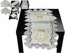 Tischdecke 40x160 cm WEIHNACHTEN Weiß Spitze Kerze Gold gestickt Weihnachtsdecke Spitzendecke (40 x 160 cm)