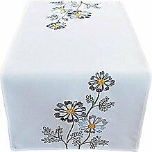 Tischdecke 40x85 cm Wollweiß Blumen Grau gestickt Tischläufer Läufer Frühling Sommer (40 x 85 cm)