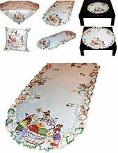 Tischdecke 45x110 cm oval Tischläufer für OSTERN weiß OSTERHASE EI Schleife lila bunt gestickt Osterdecke (Tischläufer 45x110 cm)