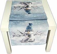 Tischdecke 50x150 cm eckig Weihnachten WINTER Schneemann Tischläufer Läufer Aufleger Hossner (50 x 150 cm)