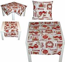 Tischdecke 50x150 cm rechteckig GOBELIN WEIHNACHTEN Merry Christmas rot Landhaus Weihnachtsdecke (Tischläufer 50x150 cm)