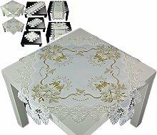 Tischdecke 60x60 cm WEIHNACHTEN Weiß Spitze Kerze Gold gestickt Weihnachtsdecke Spitzendecke (60 x 60 cm)