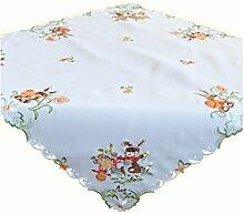 Tischdecke 85x85 cm OSTERN Weiß Osterhase Bunt