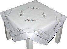 Tischdecke 85x85 cm WEIHNACHTEN weiß silber Landhaus MITTELDECKE Weihnachtsdecke