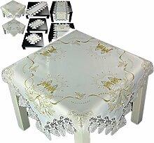 Tischdecke 85x85 cm WEIHNACHTEN Weiß Spitze Kerze Gold gestickt Weihnachtsdecke Spitzendecke (85 x 85 cm)