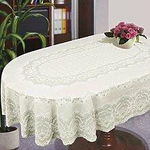 Tischdecke Abdeckung Home Tischdecke Oval Rechteck Plastik Spitze Muster Beige