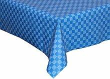 Tischdecke abwaschbar blau mit Karo Motiv 140x180cm oval, Wachstuch für die Küche, Balkon und Garten ,eckig - Größe wählbar (Rund Eckig Oval)