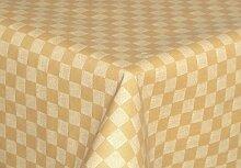 Tischdecke abwaschbar creme braun mit Karo Motiv Rund 140cm , Wachstuch für die Küche, Balkon und Garten ,eckig - Größe wählbar (Rund Eckig Oval)