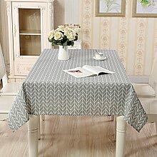 Tischdecke Abwaschbar, Graues Leinen Tischdecken Rechteck, Pflegeleicht Bequem Schmutzabweisend, mit Geometrisches Muster, Größe Optionalg (Graue Streifen,140x180)