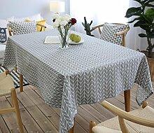 Tischdecke Abwaschbar, Graues Leinen Tischdecken Rechteck, Pflegeleicht Bequem Schmutzabweisend, mit Geometrisches Muster, Größe Optionalg