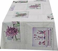 Tischdecke abwaschbar mit Lavendel Motiv Rund 140cm , Wachstuch für die Küche, Balkon und Garten ,eckig - Größe wählbar (Rund Eckig Oval)