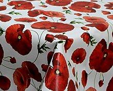 Tischdecke abwaschbar mit Mohn Motiv 140x200cm eckig, Wachstuch für die Küche, Balkon und Garten ,eckig - Größe wählbar (Rund Eckig Oval)
