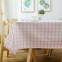 Tischdecke Aktivität Doppel Doppelschuss Baumwolle Leinwand Frisch Klein Couchtisch Tischdecke Tischdecke,Pink-110*170cm