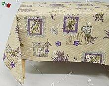 Tischdecke Antiflecken Lavendel Shabby Chic Landhausstil–rechteckig cm 140x 300(16–18Personen)