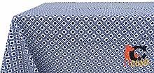 Tischdecke aus 100% Baumwolle Fantasie Polly 140x140 blau
