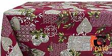 Tischdecke aus 100% Baumwolle Fantasie Sirmione 140x140 bordeaux