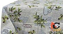 Tischdecke aus 100% Baumwolle Fantasie Sirmione 140x140 grau