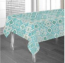 Tischdecke aus 100% Baumwolle Fantasie Steingut 140x240 grün