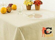 Tischdecke aus 100% Baumwolle in Uni 140x140 beige