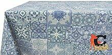 Tischdecke aus 100% Baumwolle Muster Fliesen 140x180 hellblau