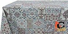 Tischdecke aus 100% Baumwolle Muster Fliesen 90x90
