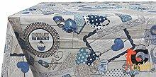 Tischdecke aus 100% Baumwolle Muster Party 140x240 blau