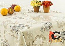 Tischdecke aus 100% Baumwolle Position Bouquet 140x180 grau