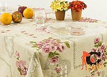 Tischdecke aus 100% Baumwolle Position Bouquet 140x240 Rosa