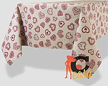Tischdecke aus 100% Baumwolle Position Herz 140x240 ro