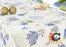 Tischdecke aus 100% Baumwolle Position Koralle 140x180 blau