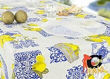 Tischdecke aus 100% Baumwolle Position Zitronen 140x180 blau
