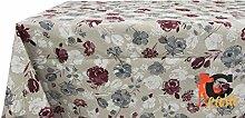 Tischdecke aus 100% Baumwolle rosa Muster 140x240 bordeaux