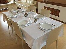 Tischdecke aus 100% Baumwolle sehr Hochwertig. Marke Lemos-Home. Muster wählbar. (Weiß (Blattmuster))
