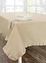 Tischdecke aus Baumwolle, Tischtuch Tafeltuch mit Rüsche Volant Leinenoptik Landhaus Shabby Chic - Rüsche Volant - 140x270 - Beige - 100% Baumwolle