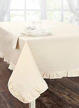 Tischdecke aus Baumwolle, Tischtuch Tafeltuch mit Rüsche Volant Leinenoptik Landhaus Shabby Chic - Rüsche Volant - 140x270 - Elfenbein - 100% Baumwolle