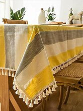 Tischdecke Aus Baumwolle Und Leinen Mit Fransen
