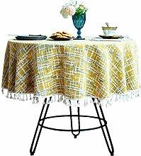 Tischdecke aus Baumwollleinen, Vintage-Stil, mit