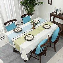 Tischdecke aus frischer Baumwolle und Leinen für