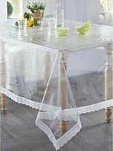 Tischdecke aus Kunststoff, rechteckig, 140x 200cm transparent Spitze